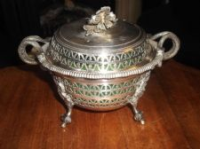 ANTIQUE SILVER PLATED DISH HOLDER & LID SNAKE HANDLES + GREEN VASELINE BOWL
